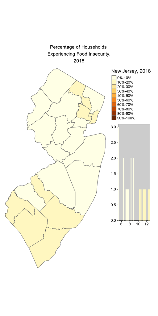 Map of NJ Households identified as Food Insecure